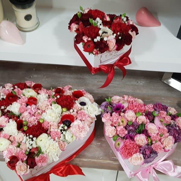 Srdiečkový kvetinový box na želanie - boxy, donáška kvetov Bratislava